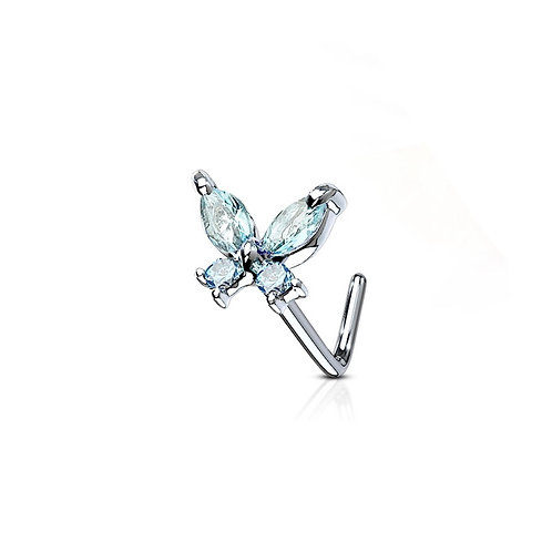 Blue Cubic Zirconia Butterfly Nose Stud