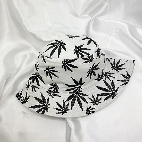 White & Black Weed Leaf Bucket Hat
