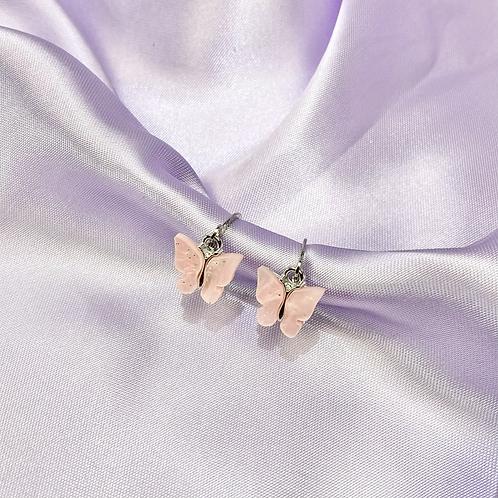 Pink Glitter Butterfly Hoop Earrings