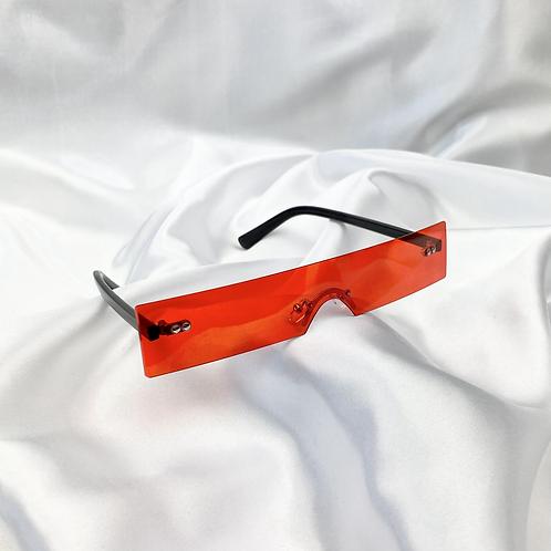 Red Retro Frameless Rectangle Sunglasses
