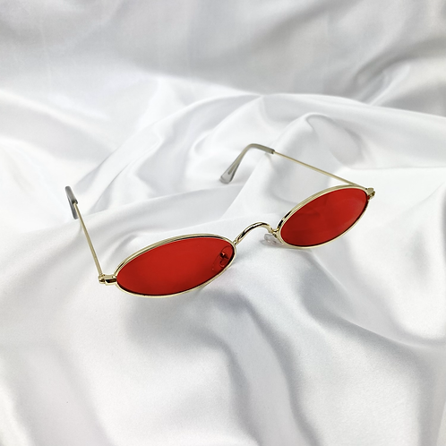 Red Retro Oval Sunglasses