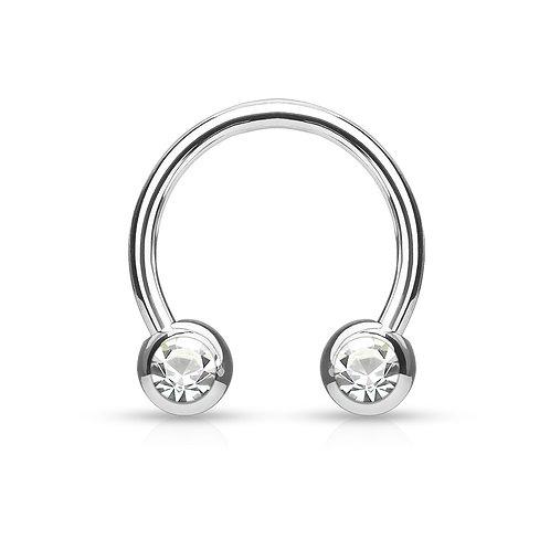 Silver Clear Crystal Horseshoe Hoop