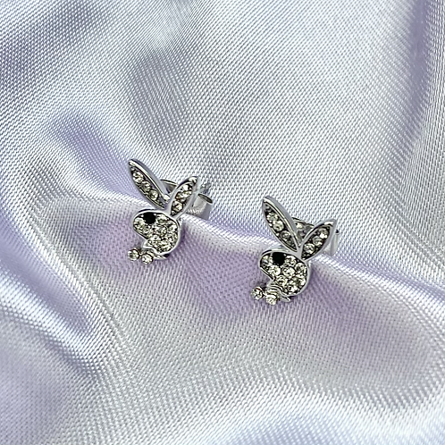 Clear CZ Paved Playboy Stud Earrings