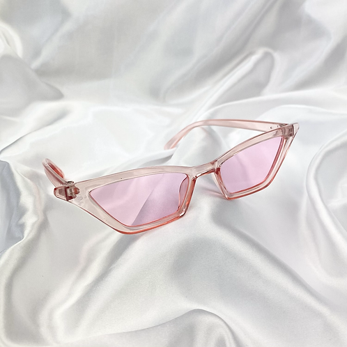 Pink Clear Rectangle Cat Eye Sunglasses
