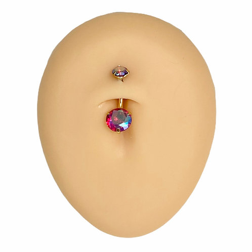 Gold Red AB Round CZ Prong Belly Bar