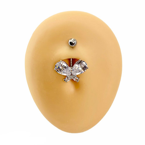 Silver Large CZ Butterfly Belly Bar