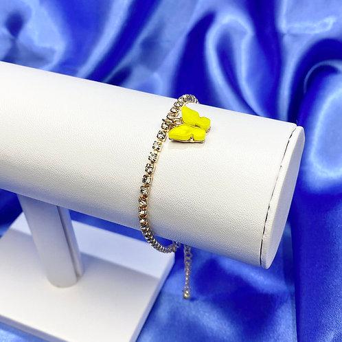 Yellow Rhinestone Butterfly Bracelet