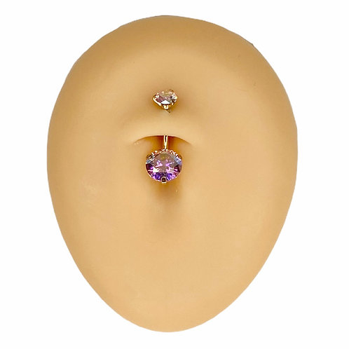 Gold Pink AB Round CZ Prong Belly Bar