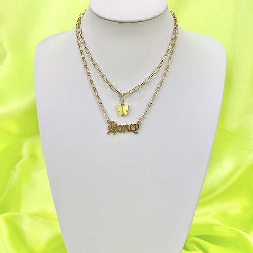 Yellow Butterfly Honey Layered Necklace