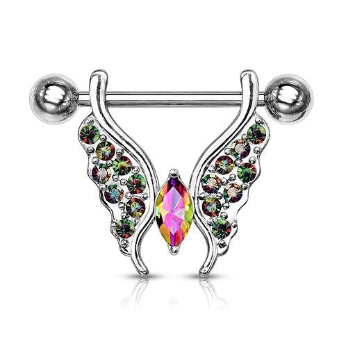 Vitrial Medium Crystal Paved Butterfly Nipple Bar