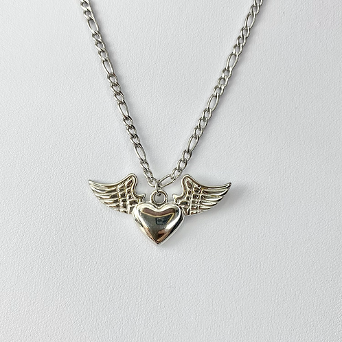 Silver Winged Heart Necklace