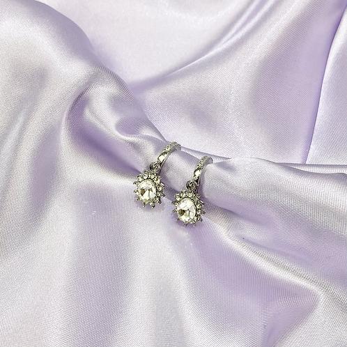 Silver Rhinestone Gem Hoop Earrings