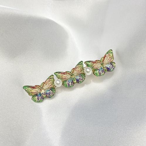 Green Multi Colour Butterfly Pearl Hair Clip
