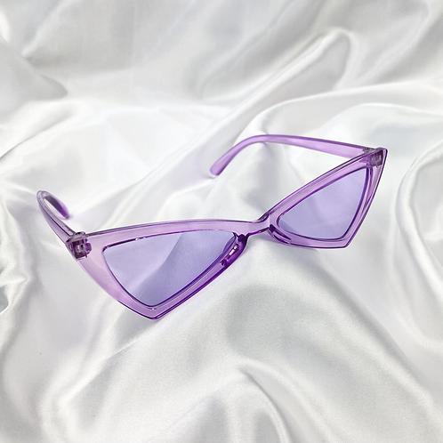 Purple Clear Triangle Sunglasses