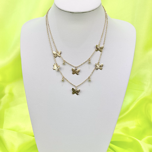 Butterfly Layered Ball Necklace