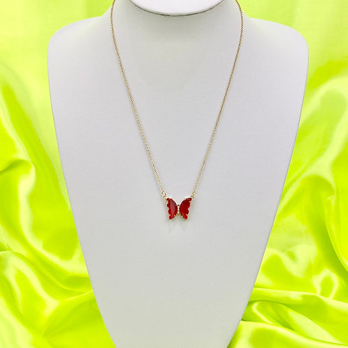 Red Clear Rhinestone Butterfly Necklace