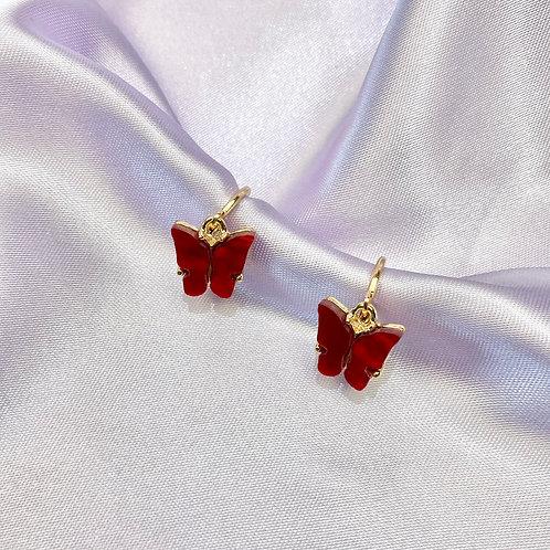 Red Butterfly Hoop Earrings