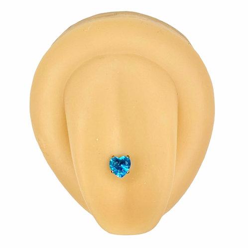 Blue Cubic Zirconia Heart Prong Tongue Bar