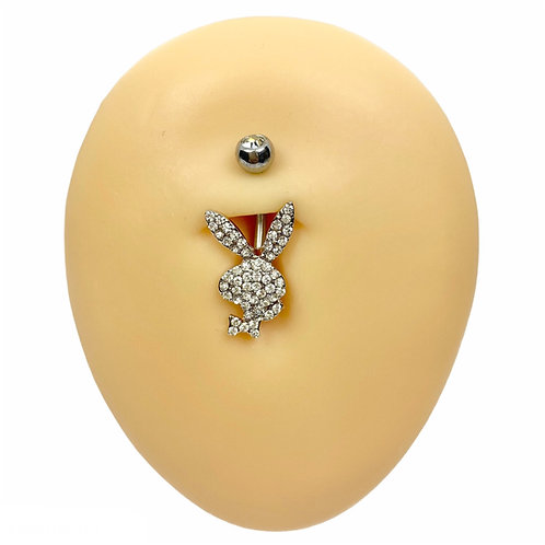 Silver Crystal Paved Playboy Belly Bar