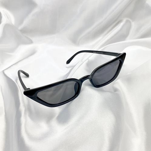 Black Slim Rectangle Cat Eye Sunglasses