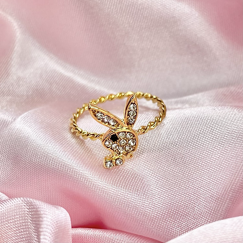 Gold Crystal Payboy Twisted Ring