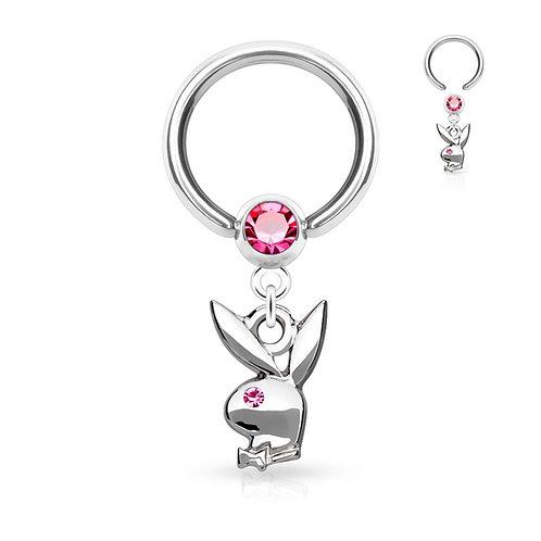 Pink Playboy Dangle Captive Hoop Ring