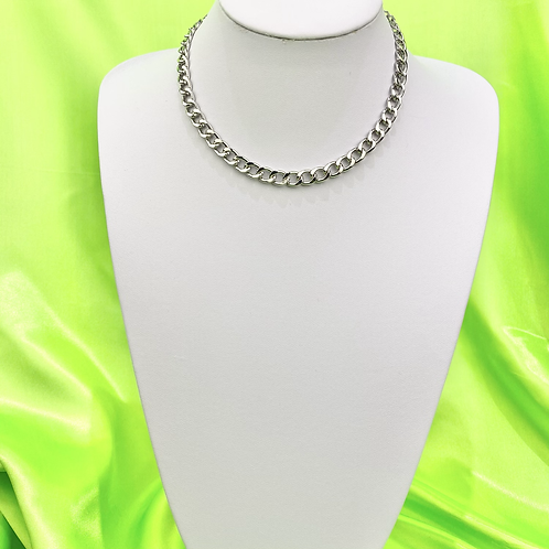 Silver Chain Choker Necklace