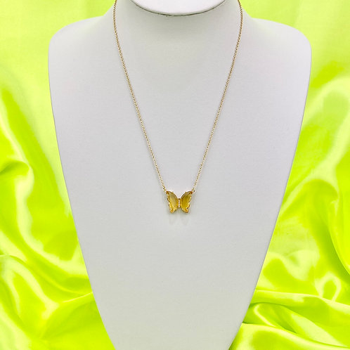 Yellow Clear Rhinestone Butterfly Necklace