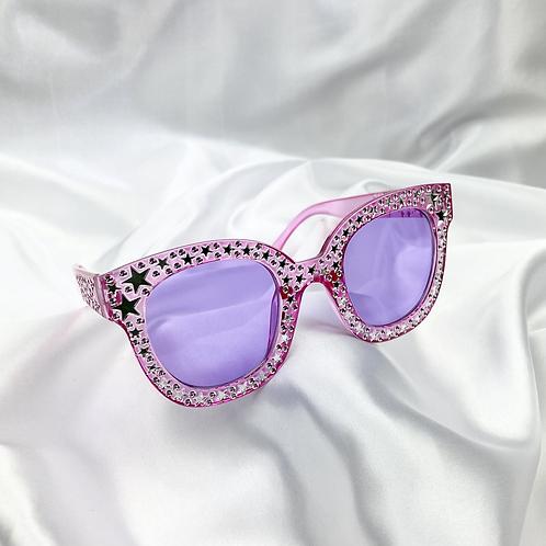 Purple Clear Star Square Sunglasses
