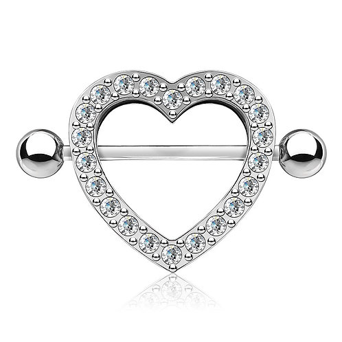 Clear Rhinestone Heart Nipple Bar Shield