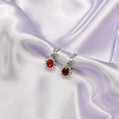 Red Rhinestone Gem Hoop Earrings