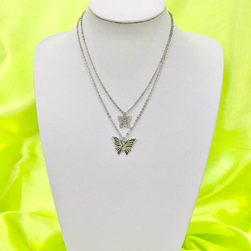Silver Layered Butterfly Necklace