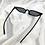 Thumbnail: Black Slim Rectangle Cat Eye Sunglasses