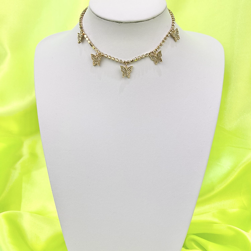 Gold Rhinestone Butterfly Bling Tennis Choker Necklace
