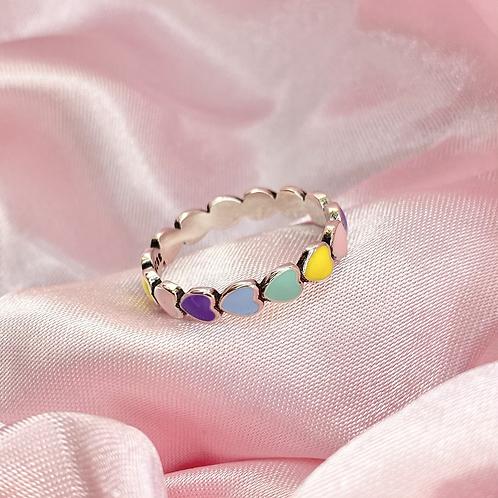 Pastel Rainbow Heart Ring