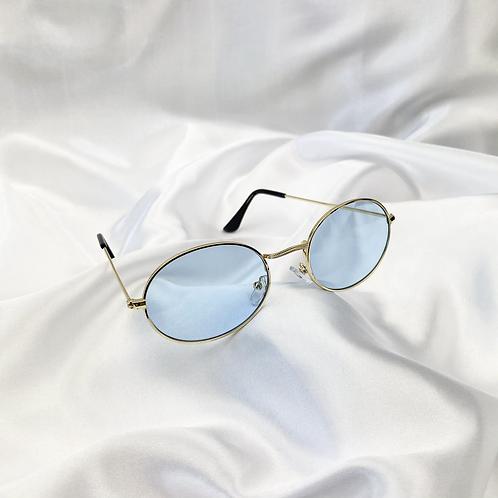 Blue Wide Oval Sunglasses