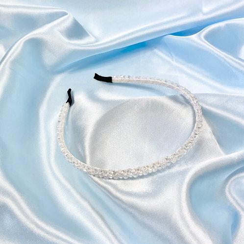White Thin Bead Headband