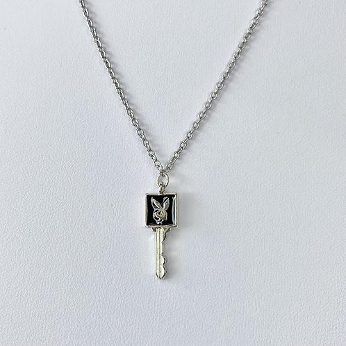 Black Enamel Playboy Key Necklace