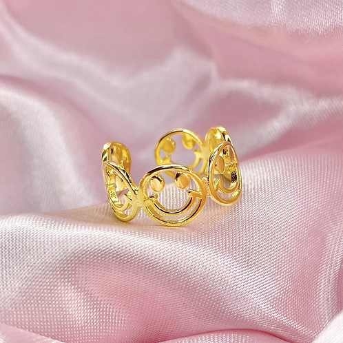 Gold Groovy Smiley Face Ring