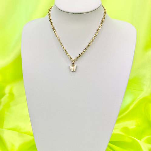White Chunky Butterfly Necklace