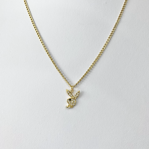 Gold Cubic Zirconia Playboy Necklace