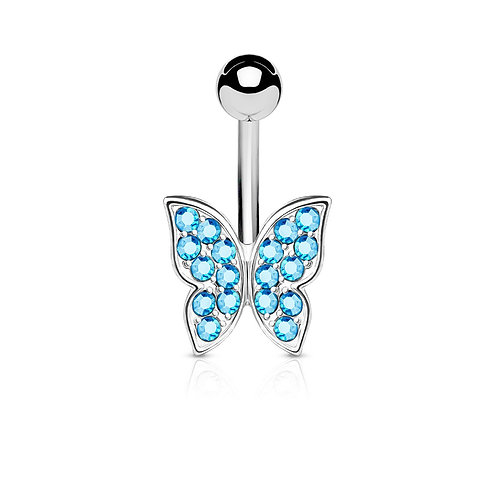 Blue Crystal Paved Butterfly Belly Bar
