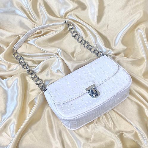 White Croc Rectangle Shoulder Bag