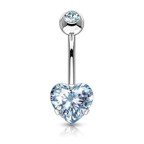 Blue Heart CZ Prong Belly Bar