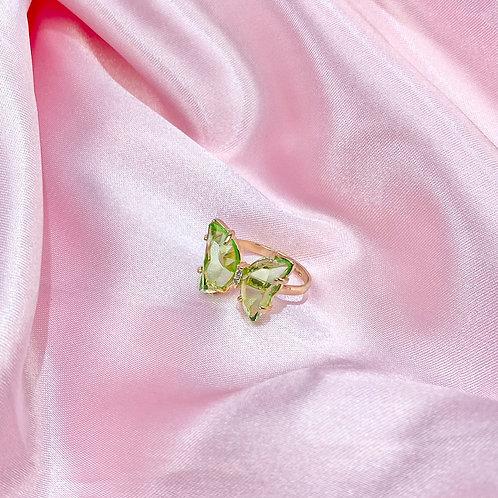 Green Clear Rhinestone Butterfly Ring