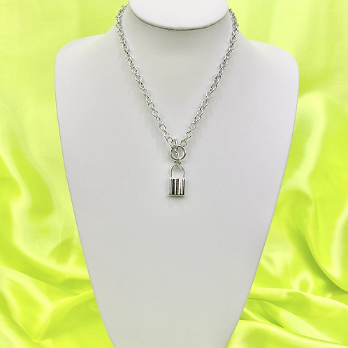 Silver Toggle Padlock Necklace