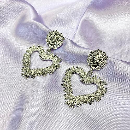 Silver Heart Statement Earrings