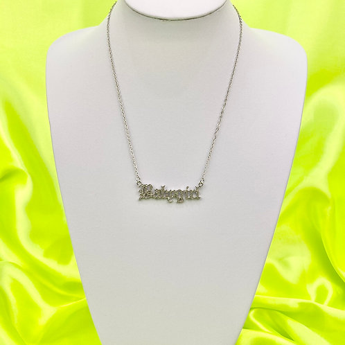 Rhinestone Silver Baby Girl Necklace