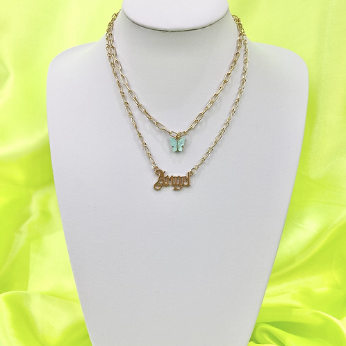 Blue Butterfly Angel Layered Necklace