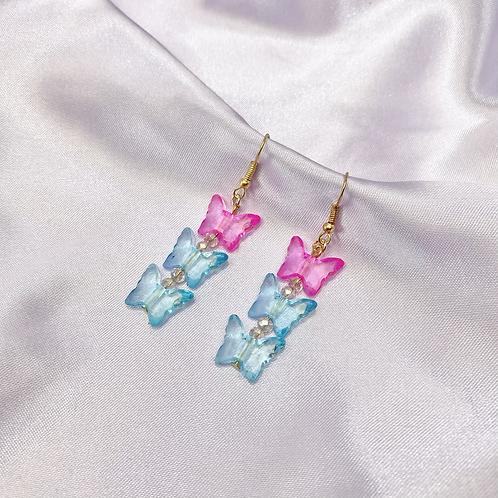 Blue & Pink Y2K Triple Butterfly Earrings